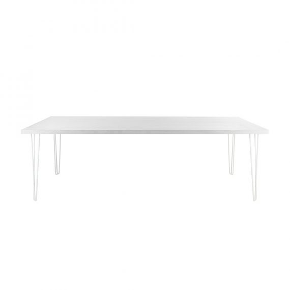 Dining Table – Banquet Hairpin White Top White Legs [Seats 8 – 10]