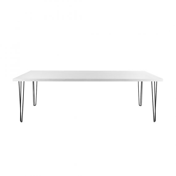 Dining Table – Banquet Hairpin White Top Black Legs [Seats 8 – 10]