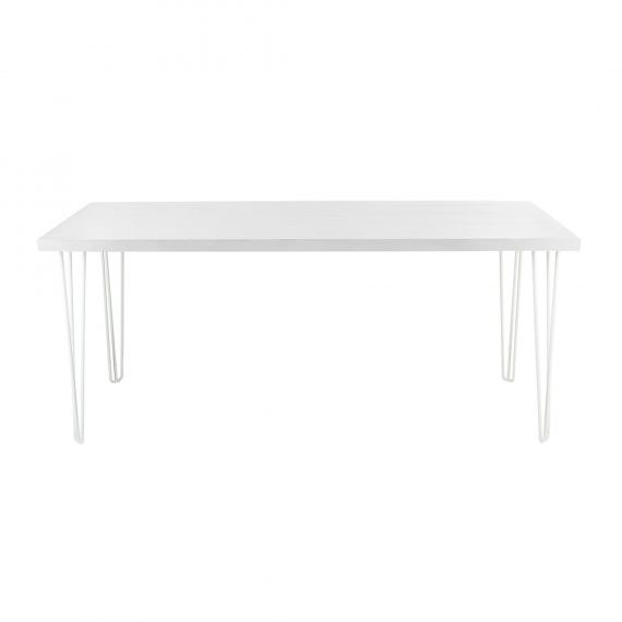 Occasional Table – Hairpin White Top White Legs