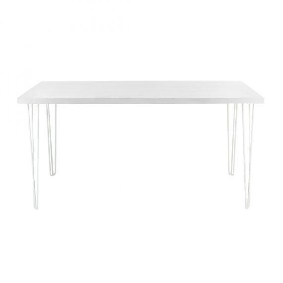 Bench Bar Table – Hairpin White Top White Legs