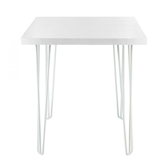Cafe Table – Hairpin White Top White Legs