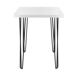 Dry Bar Table – Hairpin White Top (Square) Black Legs