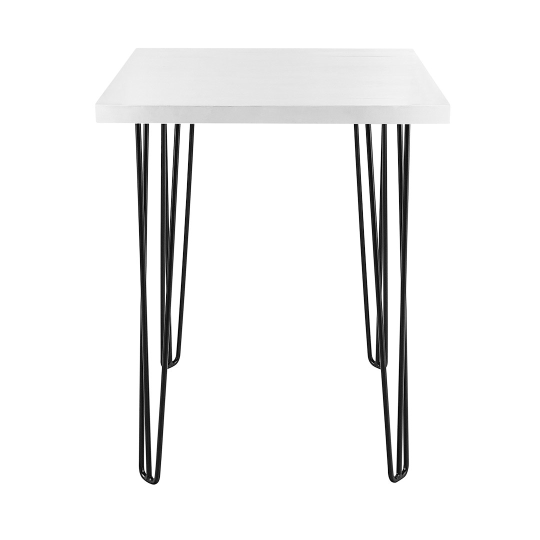 Dry Bar Table Hairpin White Top Square Black Legs