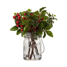berries and leaves in a clear jar - centrepieces