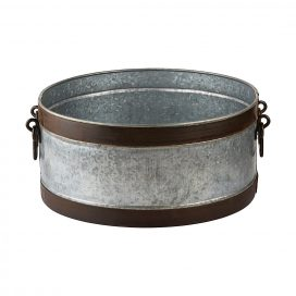 Drinks Tub – Steel with Leather Bands (Round)