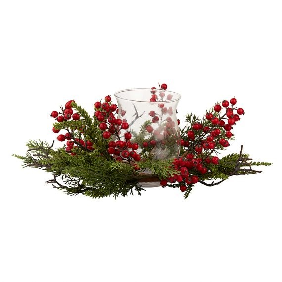 Wreath – Berry with Hurricane Vase