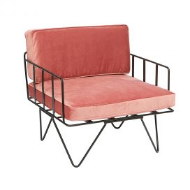 Sofa Lounge – Black Wire Single Seater Chair with Velvet Cushions (Pink)