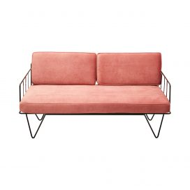Sofa Lounge – Black Wire 2-Seater with Velvet Cushions (Pink)