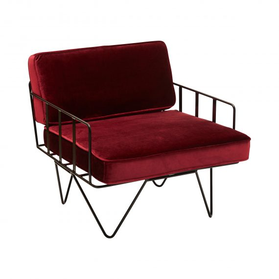 Sofa Lounge – Black Wire Single Seater Chair with Velvet Cushions (Oxblood)
