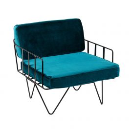 Sofa Lounge – Black Wire Single Seater Chair with Velvet Cushions (Emerald Green)