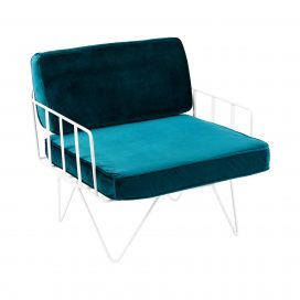 Sofa Lounge - White Wire Single Seater Chair with Velvet Cushions (Emerald)