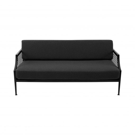 Sofa Lounge – Black Mesh 2.5 Seater with Charcoal Cushions