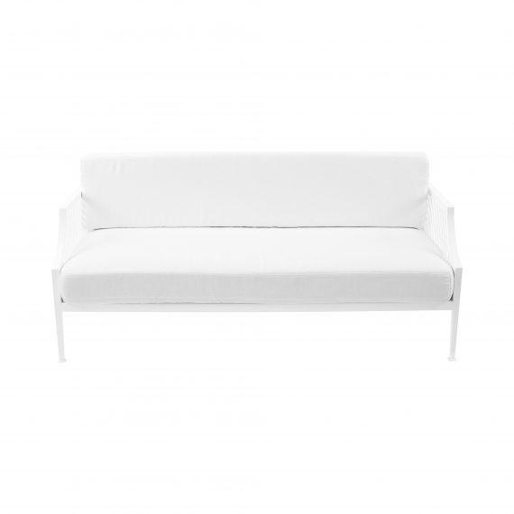 Marseille Mesh 2.5 Seater Sofa Lounge – White with White Cushions