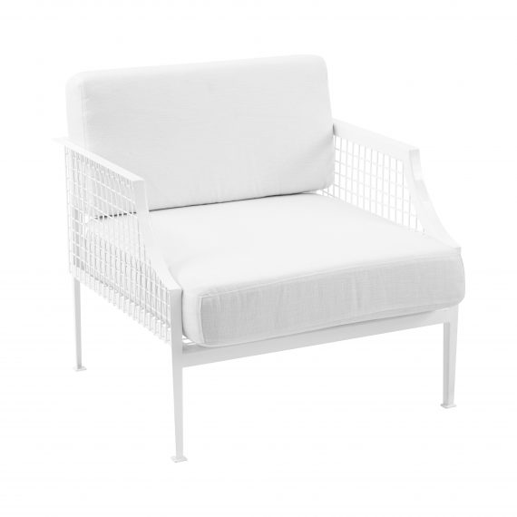 Sofa Lounge – White Mesh Armchair with White Cushions