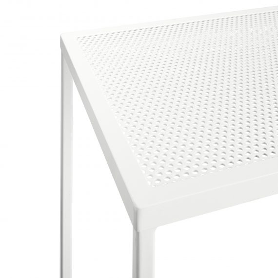 Bench Bar Table – Perforated Mesh (White)