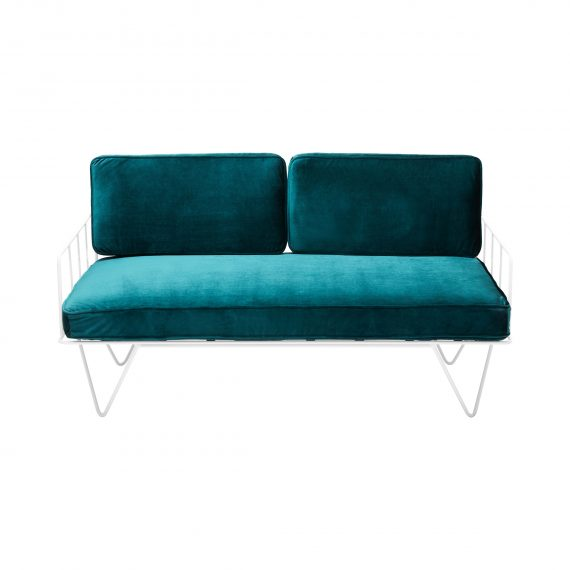 Sofa Lounge – White Wire 2-Seater with Velvet Cushions (Emerald)