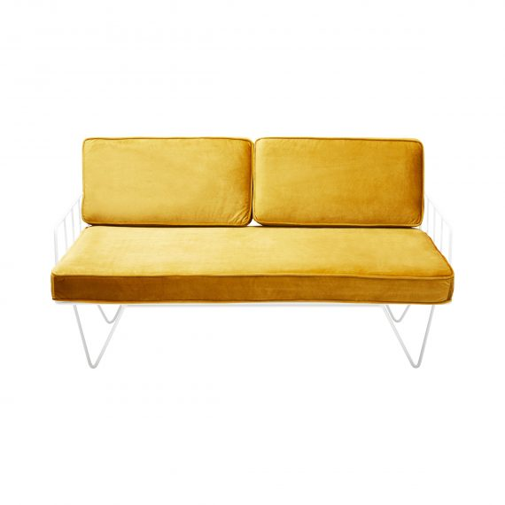 Sofa Lounge – White Wire 2-Seater with Velvet Cushions (Cognac)