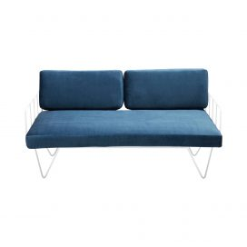 Sofa Lounge – White Wire 2-Seater with Velvet Cushions (Blue)