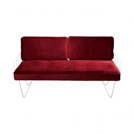 Sofa Lounge – White Wire 2-Seater with Velvet Cushions (Oxblood)