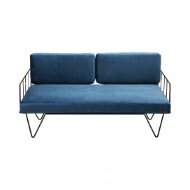 Sofa Lounge – Black Wire 2-Seater with Velvet Cushions (Blue)
