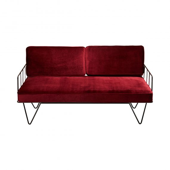 Sofa Lounge – Black Wire 2-Seater with Velvet Cushions (Oxblood)
