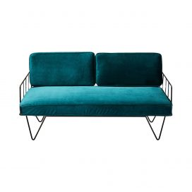 Sofa Lounge – Black Wire 2-Seater with Velvet Cushions (Emerald)
