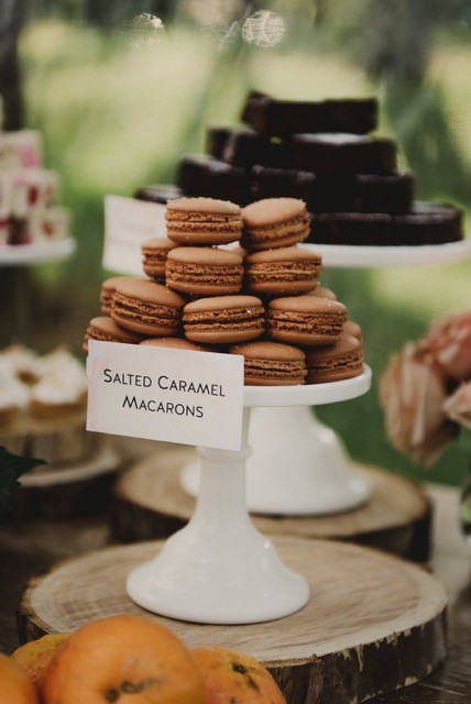 macarons on a white cake stand