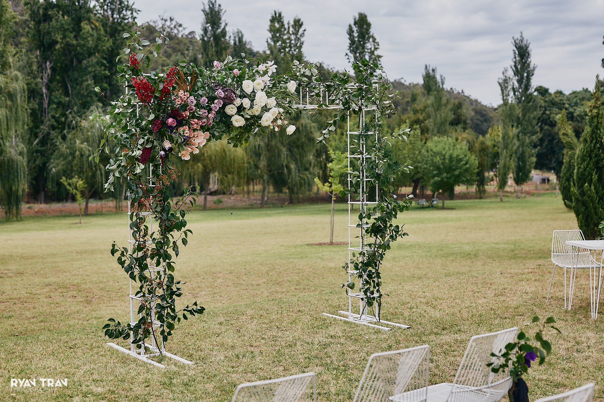 wedding arbour decorated with flowers