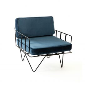 Sofa Lounge – Black Wire Single Seater Chair with Velvet Cushions (Blue)