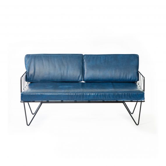 Sofa Lounge – Black Wire 2 Seater with Petrol Blue Leather