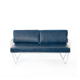 Sofa Lounge - White Wire 2 Seater with Petrol Blue Leather