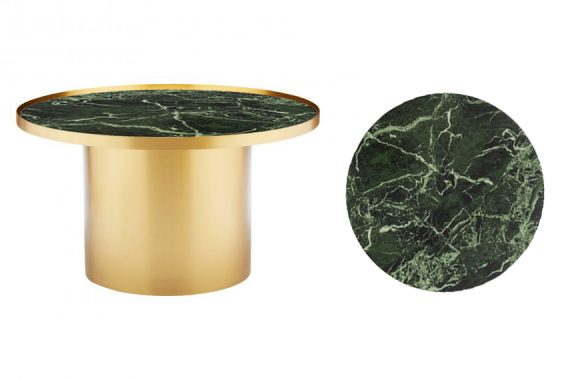 Coffee Table – Brass Cylinder with Green Marble Insert