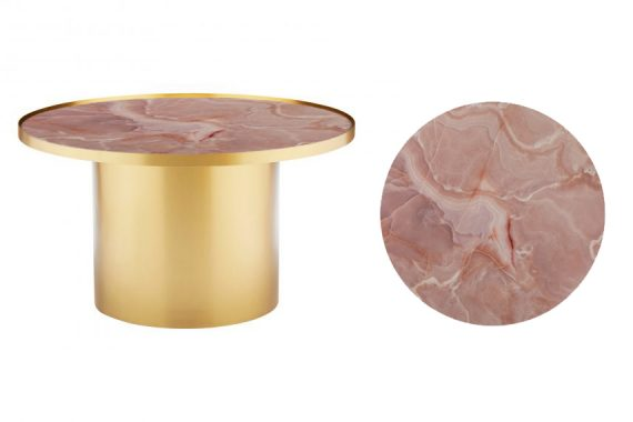 Coffee Table – Brass Cylinder with Pink Marble Insert