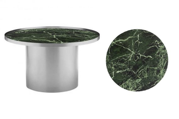 Coffee Table – Chrome Cylinder with Green Marble Insert