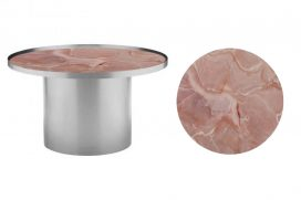 Coffee Table – Chrome Cylinder with Pink Marble Insert