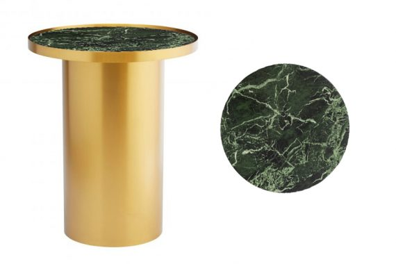 Side Table – Brass Cylinder with Green Marble Insert