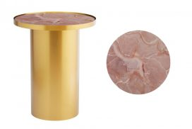 Side Table – Brass Cylinder with Pink Marble Insert