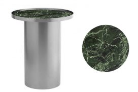 Side Table – Chrome Cylinder with Green Marble Insert