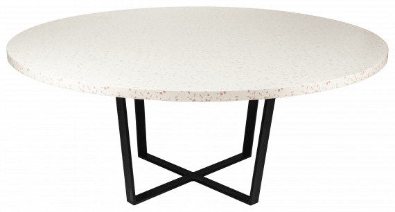 Dining Table – Round Stone and Black Cross Leg Base