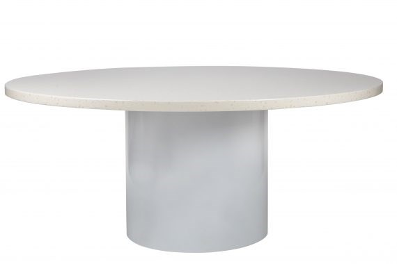 Dining Table – Round Stone and White Base