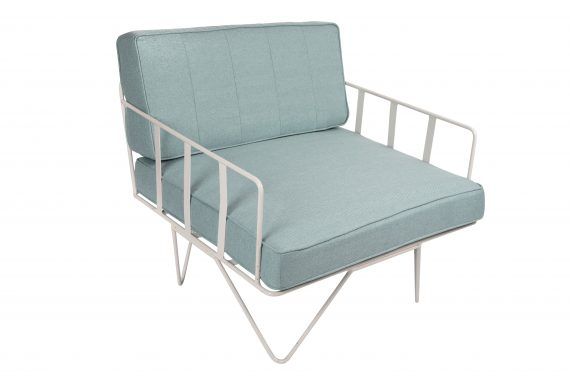 Sofa Lounge – White Wire Single Seater Chair with Duck Egg Blue Cushions