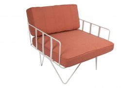 Sofa Lounge - White Wire Single Seater Chair with Coral Pink Cushions