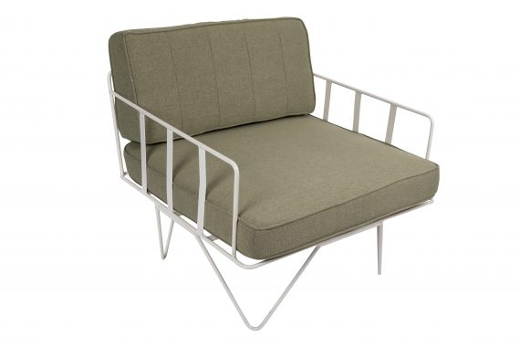 Sofa Lounge – White Wire Single Seater Chair with Sage Green Cushions