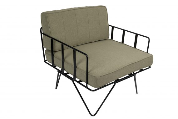 Sofa Lounge – Black Wire Single Seater Chair with Sage Green Cushions