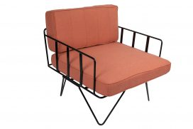 Sofa Lounge – Black Wire Single Seater Chair with Coral Pink Cushions
