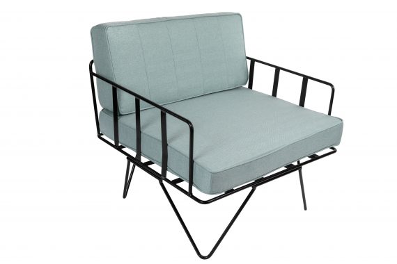 Sofa Lounge – Black Wire Single Seater Chair with Duck Egg Blue Cushions