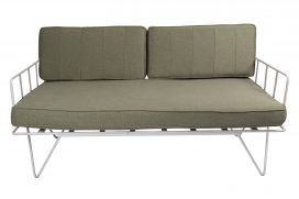 Sofa Lounge - White Wire 2-Seater with Sage Green Cushions