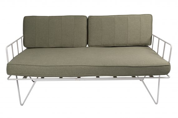 Sofa Lounge – White Wire 2-Seater with Sage Green Cushions