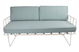 Sofa Lounge – White Wire 2-Seater with Duck Egg Blue Cushions