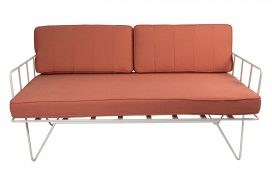 Sofa Lounge – White Wire 2-Seater with Coral Pink Cushions